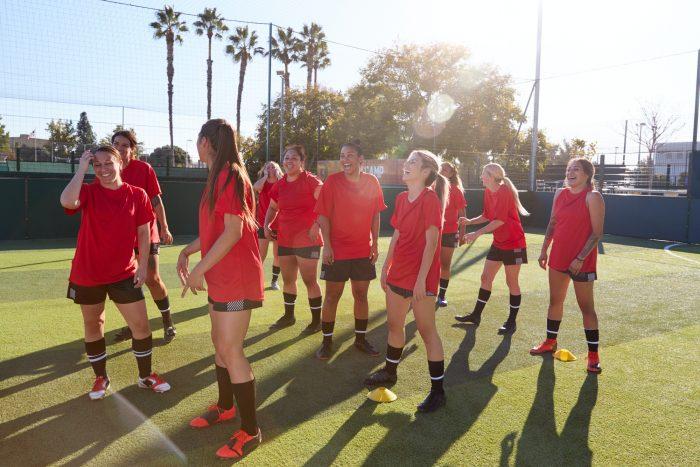 Womens Football Team Training For Soccer Match